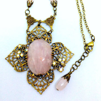 Brass Filigree Cross Necklace with Rose Quartz Gemstone