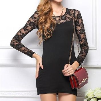 Special Offer New Classical Fashion Patchwork Lace Dress Long Sleeve Slim Dress Solid Color Free Shipping S-XXXL