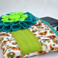 Green and orange Clutch, clutch purse, zippered Pouch, clutch bag, summer Clutch, wristlet, pleated clutch, clutch wallet, neon clutch