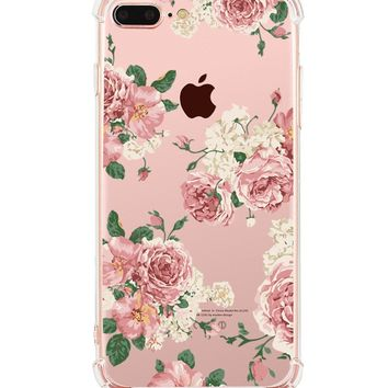 iPhone 8 Plus Clear Case, iPhone 7 Plus Clear Case, Hepix Floral Print Soft Flexible TPU Watercolor Flowers Transparent Back Cover [5.5 inch]