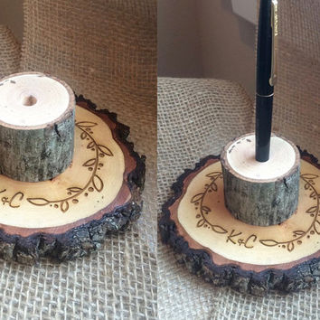 Rustic Wedding Pen Holder, Wood Slice Pen Holder, Guestbook Pen Holder, Sign In Pen Holder,  Custom Pen Holder,  Custom Wedding Decor