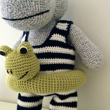 Hippo doudou blankie toys jouet baby bébé kids enfant crochet doll poupée amigurumi gift knitting handmade shower gift stuffed toys