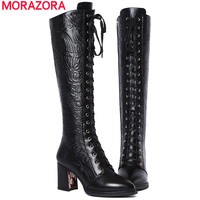 new fashion knee high boots square heels lace up thigh high pointed toe genuine leather winter women boots