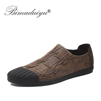Fashion Casual Shoes Men Adult Footwear Breathable Microfiber Leather Soft Driving Flats Shoes