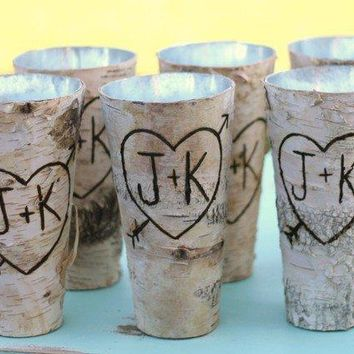 Set Of 6 Personalized Tall Birch Bark Wood Vases By Braggingbags