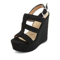 BRAIDED T-STRAP PLATFORM WEDGES