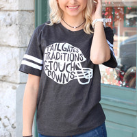 Tailgate Traditions Touchdowns Football Helmet Ringer Tee {Charcoal}