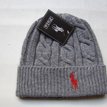 hcxx POLO Merino Wool Hat Grey-Red