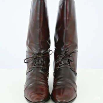 vintage 80s 90s OXBLOOD laced RIDING calf boots size 9 10