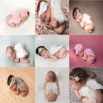 2018 Angel Wing Newborn Photography Props Soft Newborn Baby Girl Feather Clothes Skirt Set Baby Hat Infant Set outfit fotografia