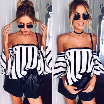 Striped Flare Sleeve Blouse
