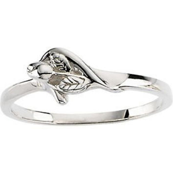 Sterling Silver Unblossomed Rose Chastity Ring With Box, Size: 8