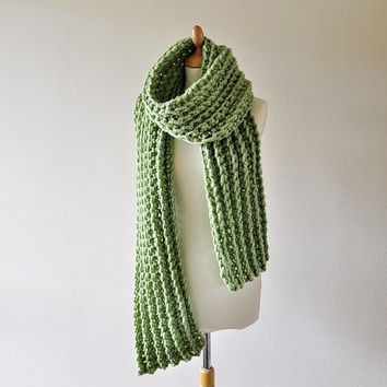 Chunky Crochet Scarf - Extra Long Scarf - Women's Green Scarf