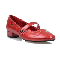 Red Glitter Cut Out Baby Jane Mary Jane Flats