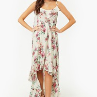 Floral High-Low Tasseled Cami Dress