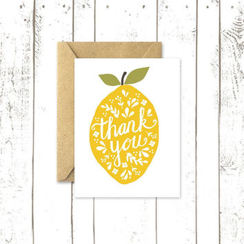 Lemon Thank You Card Set, Box of 8, Typography Lemon Design