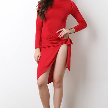 Side High Slit Turtle Neck Dress