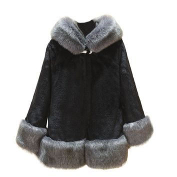 2017 Plus Size 5XL faux fur coat Women Long Sleeve Parka Outwear With Fur Trim Hood Covered Button Thick Warm Fur Diamonds pin