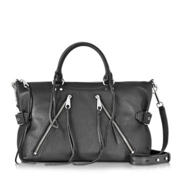 Rebecca Minkoff Designer Handbags Black Leather Large Moto Satchel