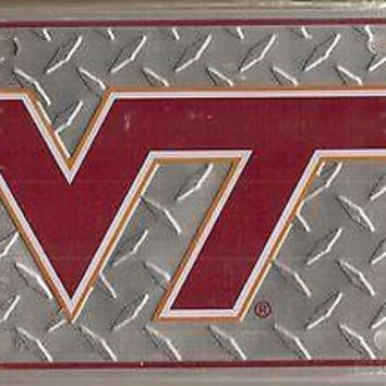 Virginia Tech Hokies VT Metal Car Tag Automobile Diamond License Plate