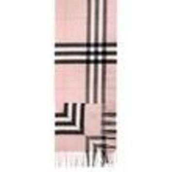 ESBON BURBERRY Women's Pink Giant Check Icon Cashmere Scarf