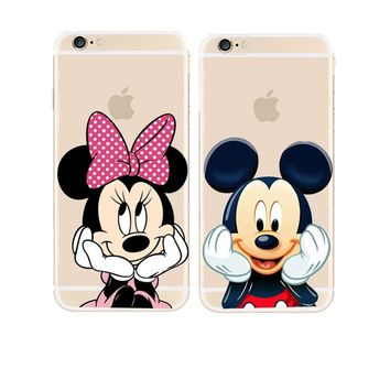 Hot New Cute Mickey Mouse Mickey and Minnie Hard Cover Case For Apple iPhone X 5 5S SE 5C 6 6S 7 8 Plus Transparent Case