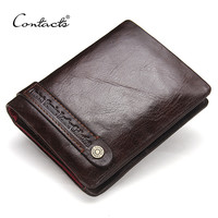 Men's Wallets Genuine Leather Wallet Card Holder Coin Pockets Purse Wallets Dark Brown Classic Men Wallet