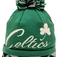 Mitchell & Ness Boston Celtics Jacquard Graphic Cuffed Pom Beanie Knit Hat