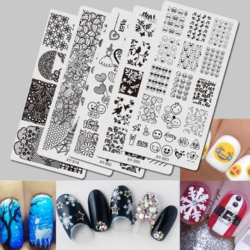 5PCS 2017 Nail Stamping Emoji/Christmas/Halloween/Lace Theme Steel Stamp Nail Art Templates Polish Stencils XYS01-20