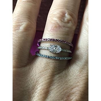 SALE    East West .75CT Oval Cut Pink & Aquamarine Ring & FREE Earring GIFT