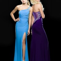 Clarisse 2014 Purple and Blue One Shoulder Stretch Jersey Sheer Prom Gown 2385 | Promgirl.net