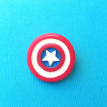 "Handmade ""Captain America"" Shield Brooch - Super Heroes - Avengers - Novelty Brooch"