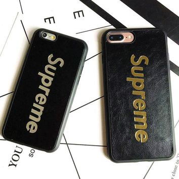 Supreme Hot stamping leather Protective casing iphone 6 6s 6plus 6s-plus 7 7plus