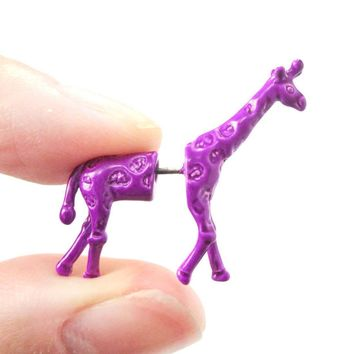 Unique Fake Gauge Earrings: Realistic Giraffe Shaped Animal Faux Plug Stud Earrings in Purple
