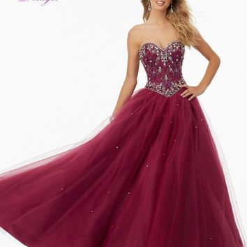 Dreagel Romantic Strapless Off The Shoulder Princess Ball Gowns Prom Dress 2016 Luxury Crystals Beaded Party Gown Robe De Soiree