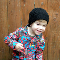 Crochet Slouch Hat in black, unisex kids accessories, ready to ship.