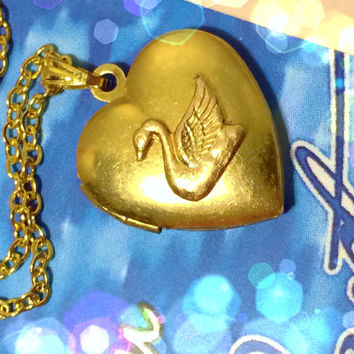 Slightly Defected Princess Odette Necklace Swan Princess Charm Heart Locket Swan Zirconia Crystal AB Handmade