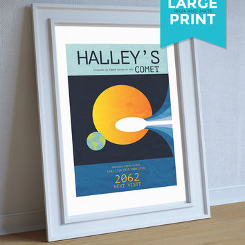 Halley's Comet Minimalist Art Print Science & Astro Physics Illustration Geekery Large Poster on Satin or Cotton Canvas Wall Decor