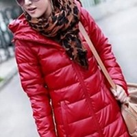 Red Quilted Long Sleeve Hooded Cotton Padded 3/4 Length Puffer Coat
