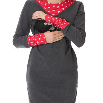 New Dark Grey Polka Dot Print Bow Round Neck Long Sleeve Casual Maternity Mini Dress