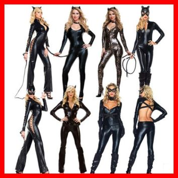 Hot Selling Sexy Women PVC Latex Bodysuits Jumpsuit Catwoman Shiny Super Hero Animal Faux Leather Catsuit Halloween Costume