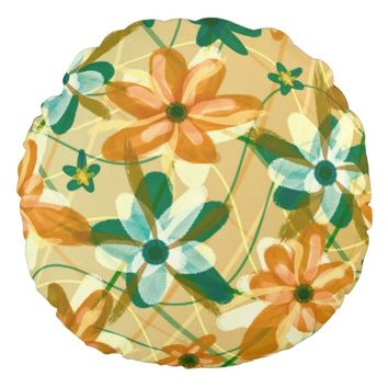 Copper Pastel Flowers Round Throw Pillow