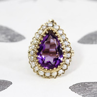 Vintage Amethyst & Pearl Ring, 14k Yellow Gold Tear Pear Shape Retro Statement Jewelry Cocktail Ring, Circa 1945, February Birthstone