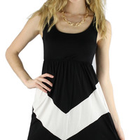 Sleeveless Chevron Short Dress - Black/White