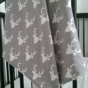 Deer baby boy minky blanket - gray & ivory deer buck woodland nursery - modern boy blanket throw - baby shower gift