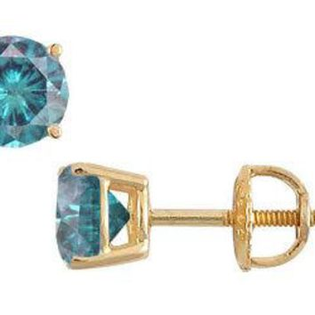 14K Yellow Gold : Blue Diamond Stud Earrings 0.25 CT TDW