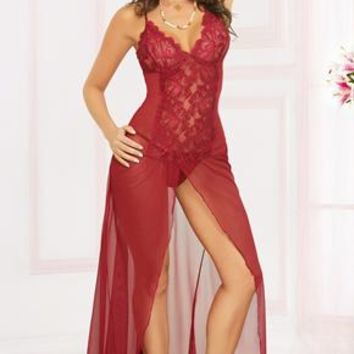 Lace & Mesh Gown & Thong Set