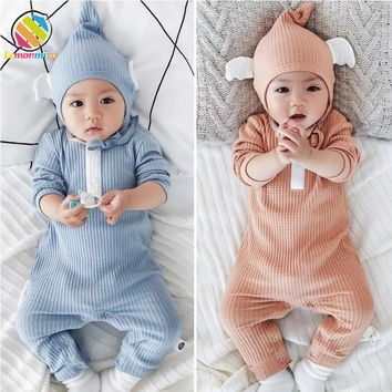 Lemonmiyu Baby Romper Cotton Long Sleeve  Autumn O-Neck Covered Button Baby Boy Girl Clothing Solid Knit Warm One-Piece Newborn