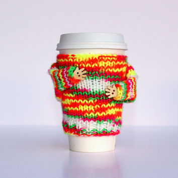 Travel mug cozy. Coffee cozy. Tea warmer. Neon colors. Yellow orange pink. Valentine's gift Mug sweater. Starbucks cup sleeve Mug hug cozy