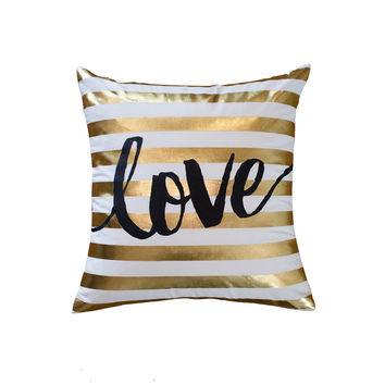 Gold Love Stripes Throw Pillow